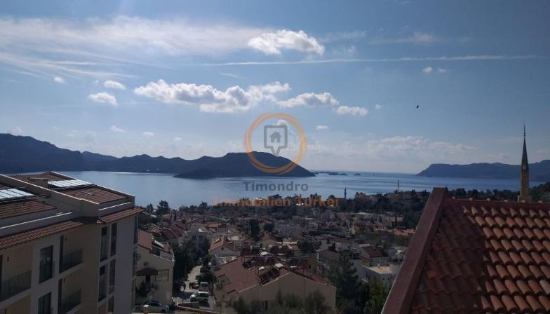Sea view property with balcony and open kitchen in Kas